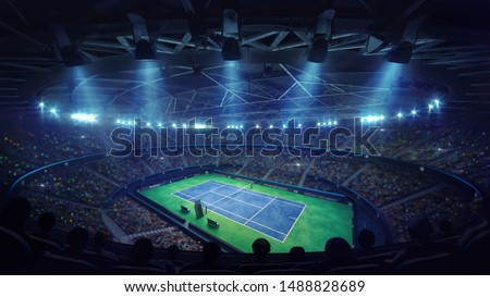 Modern tennis arena illuminated by spotlights, blue court and fans, upper perspective view, professional tennis sport 3d illustration background