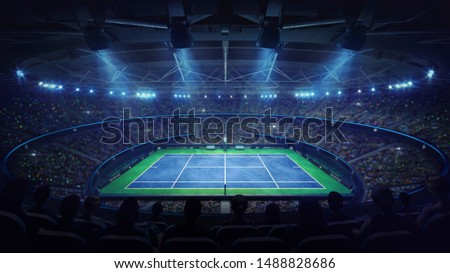 Modern tennis arena illuminated by spotlights, blue court and fans, upper side view, professional tennis sport 3d illustration background