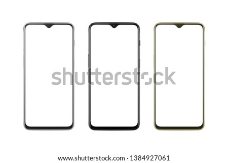Modern thin and round edges phone in silver, black and gold color. White screen for mockup, isolated.  #1384927061