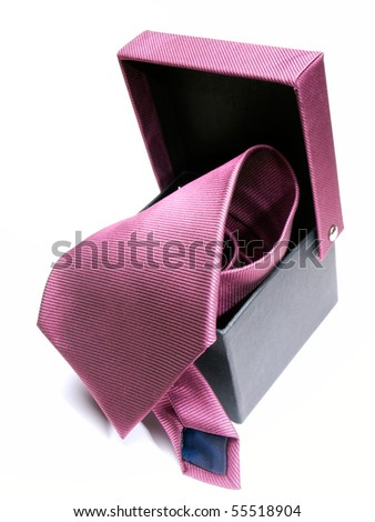 Modern tie in a open box on a white background.