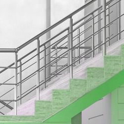 Modern Tiled Staircase Or Stairway With Stainless Steel Hand Railing At The Outside White Wall Background. Side View.