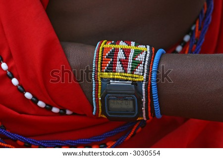 Modern times for a timeless people, Masai warrior wrist with digital watch