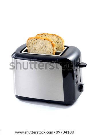 Modern toaster with bread slices