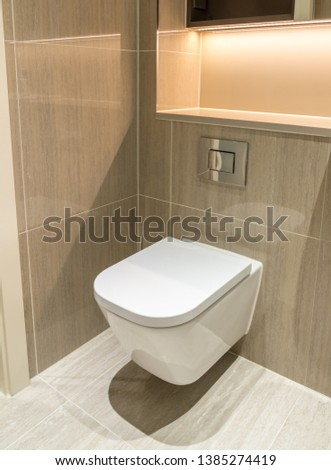 Modern toilet or WC in clean apartment or flat with white porcelain and tiled walls and floor