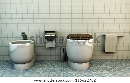 modern toilette with white ceramics