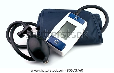 Modern tonometer for blood pressure measurement on a white background