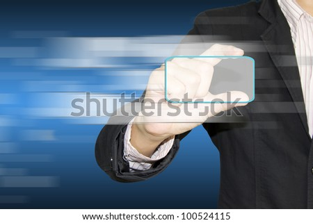 modern touch screen buttons with a blue technology