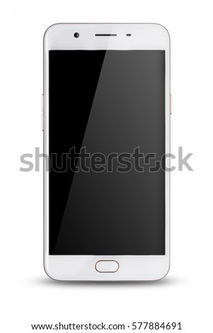 modern touch screen smartphone isolated on white background.