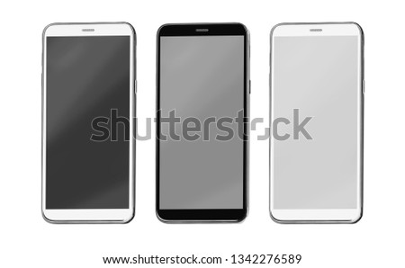 modern touch screen smartphone isolated on white background with clipping path #1342276589