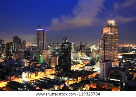 Modern town building at twilight scene in Bangkok,Thailand