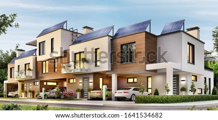 Modern townhouse with solar panels on the roof and electric cars. 3d rendering