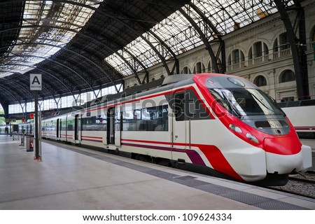 Shutterstock Modern train at the station. Barcelona, Spain.