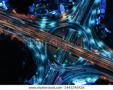 Modern transportation with Expressway, Road and Roundabout, multilevel junction highway-Top view. Important infrastructure.
