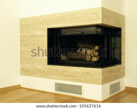 Modern travertine fireplace in the living room
