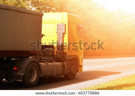 Modern truck on road. Wholesale and logistic concept #683778886
