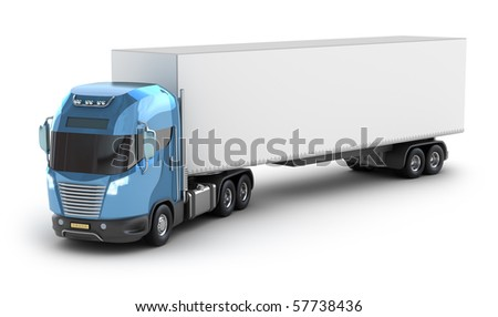 Modern truck with cargo container, isolated on white 3d image. My own Design.