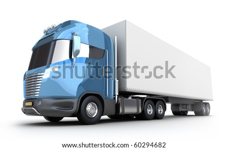 Modern truck with cargo container, isolated on white 3d image. My own design
