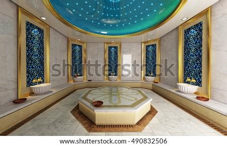 Modern Turkish bath 3D design and rendering by Sedat SEVEN
