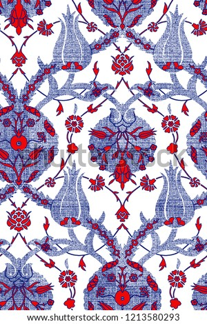 Modern Turkish Tile Motif. Ottoman Ceramic Pattern. Leaf and Floral Design. It can be used as wallpaper, gift,  wrapping paper, notebook cover,  fashionable print,carpet, rug, scarf, clipboard , shawl