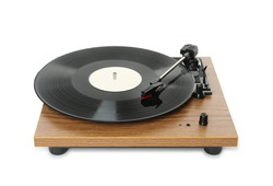 Modern turntable with vinyl record isolated on white