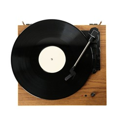 Modern turntable with vinyl record isolated on white, top view