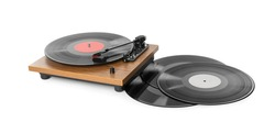 Modern turntable with vinyl records on white background