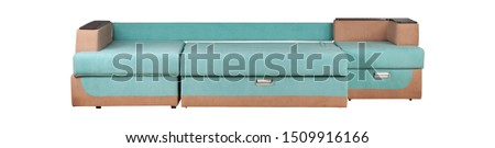 Modern turquoise and brown sofa isolated