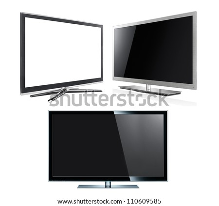 Modern tv panels isolated on the white