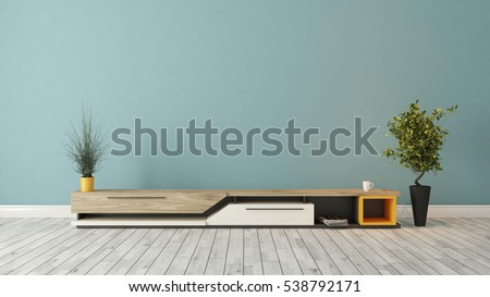 modern tv stand design with blue wall in the room decoration idea 3D rendering by Sedat SEVEN