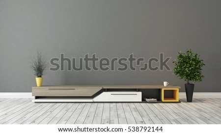 modern tv stand design with grey brown wall in the room decoration idea 3D rendering by Sedat SEVEN