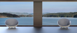 modern Two chair and Beautiful lake View  / 3d render
