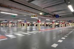modern underground garage, red floor