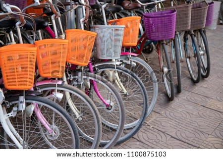 modern urban bicycles with...