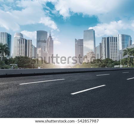 Modern urban buildings and roads