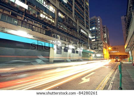Modern Urban City with Freeway Traffic at Night, hong kong #84280261