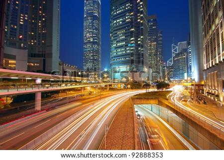 Modern Urban City with Freeway Traffic at Night, hong kong #92888353