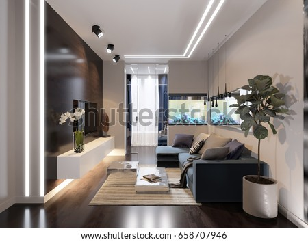 Modern urban contemporary living room hotel interior design with gray beige walls, fireplace, aquarium and LED Diode lighting on ceiling. 3d render