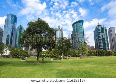 modern urban landscape, greenbelt park in shanghai