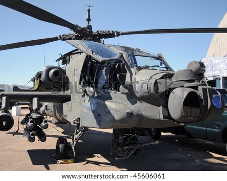 Modern US army helicopter on the ground