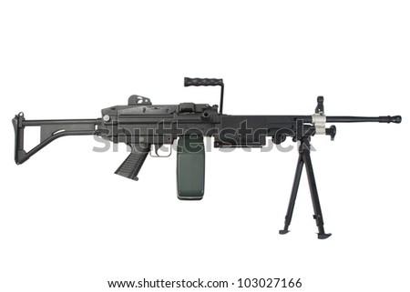 modern us marines machine gun isolated on white