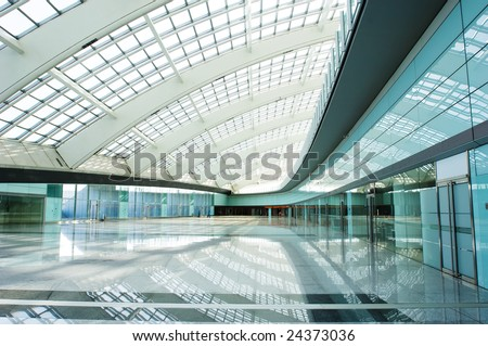 modern vaulted hall in the beijing T3 airfield