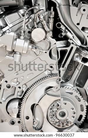 Modern Vehicle Engine Display. Modern Economical V6 Engine