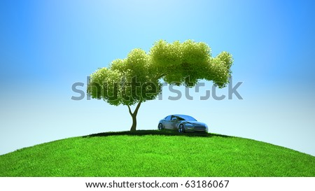 Modern vehicle under tree on green fileld and blue sky
