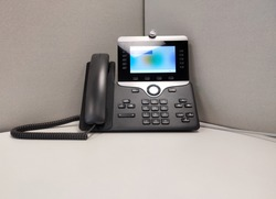 Modern video phone on workplace