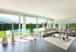 Modern villa, interior, beautiful living room