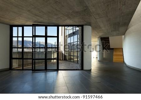 modern villa large window with panoramic view, interior