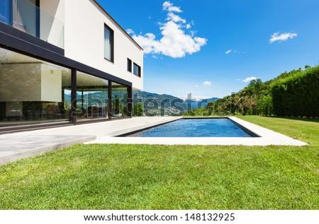 Modern villa , outdoor, view from garden