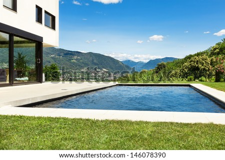 Modern villa , outdoor, view from poolside