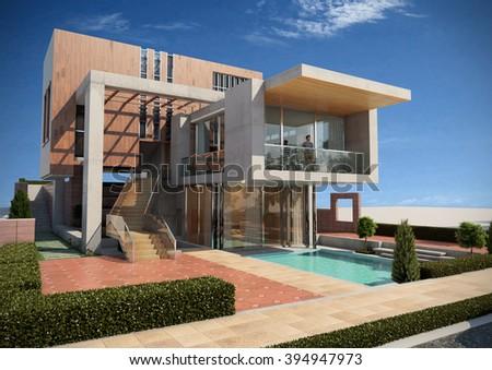 Modern villa - render 2