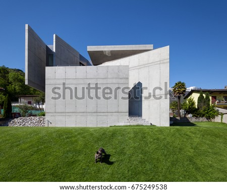 Modern villa surrounded by green. Nobody inside